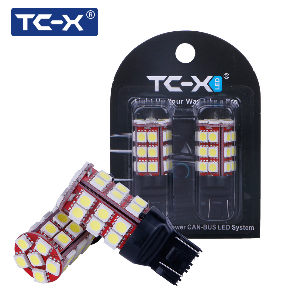 TC-X 1Pair W21W T20/7443 Bulb Led Canbus LED 5050 SMD 12V White Super Bright Unversal Car-styling For Turning lights brake light pv2 rda with top filling design