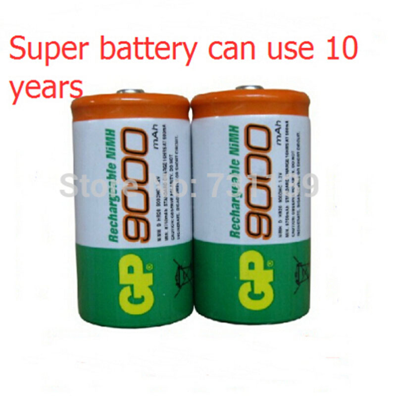 Brand New HR20 900 DHC 2pcs/Lot  GP 1.2V NiMh  9000 Battery D size Rechargeable NI-MH Batteries pilas recargables free shipping
