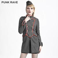 Punk Rave Military Style Wool Coat Winter Woman GRAY Uniform Style High Collar Wool Coat Y-624