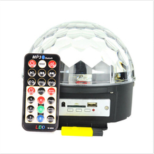 1 PC  6 * 3W LEDs  Mini DJ Laser Stage Light MP3 IR Remote Digital RGB LED Crystal Magic Ball  AC110-240V