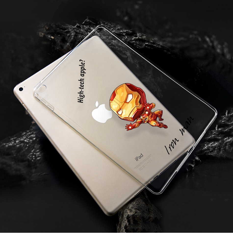 Cartoon Soft Silicone Spiderman Iron Man Protectiv Cover For Ipad 2 3 4