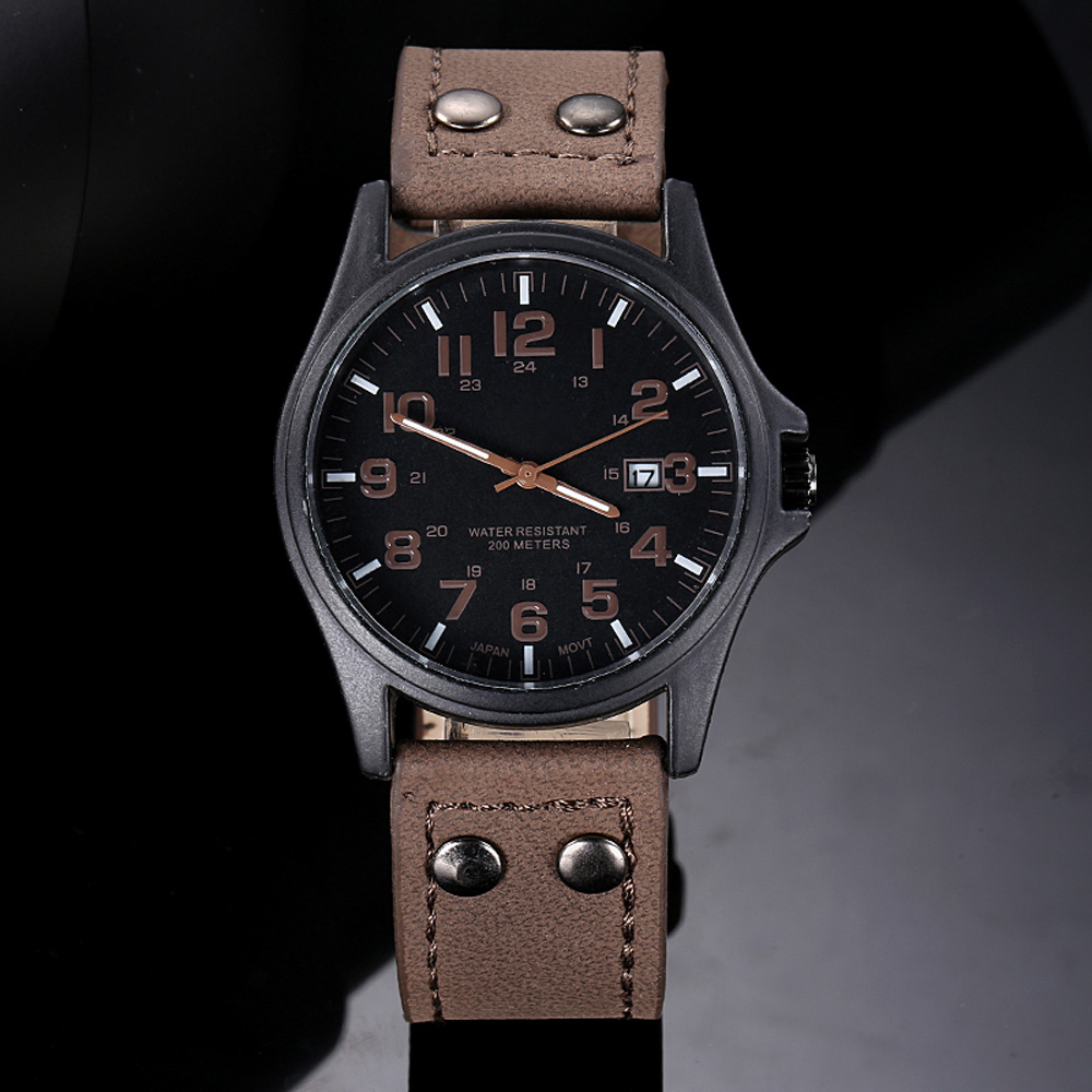 Watch Vintage Mens Waterproof Date Leather Strap Sport Quartz Army Watch Relogio Masculino Dropshipping Gift ,Aug 9