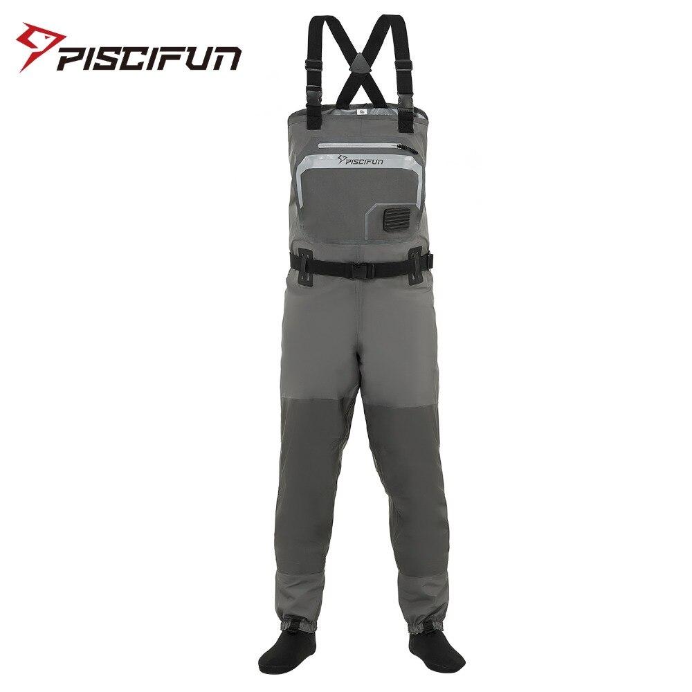 Piscifun דיג מגפים 3-שכבה פוליאסטר לנשימה עמיד למים גרב רגל טוס דיג מגפים חזה מכנסיים