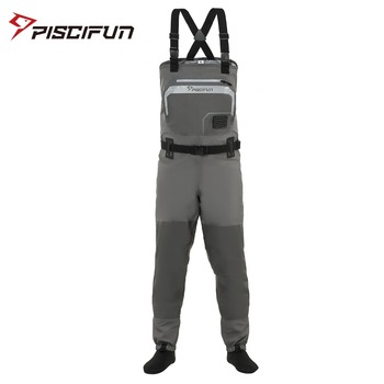 Piscifun Fishing Waders 3-Layer Polyester Breathable Waterproof Stocking Foot Fly Fishing Chest Waders Pants high jump camouflage fishing waders 0 7mm pvc breathable waterproof chest fishing wader unisex dichotomanthes end fishing waders