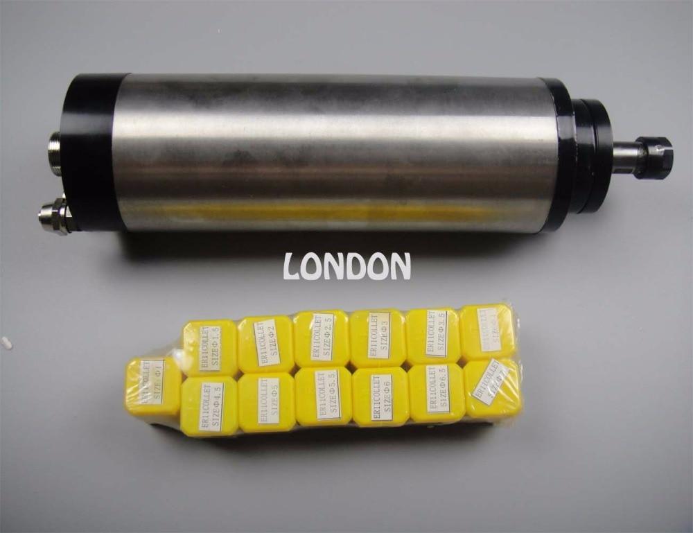 Kit mandrino CNC 800W ER11 diametro 65mm 220V motore mandrino raffreddamento acqua 4 cuscinetti + 13 pezzi pinze ER11