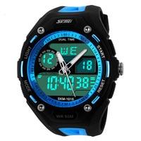 2014 Men Sports Watches Sport Watch 5ATM Waterproof Date Week Alam Stop Watch Display LED Digital
