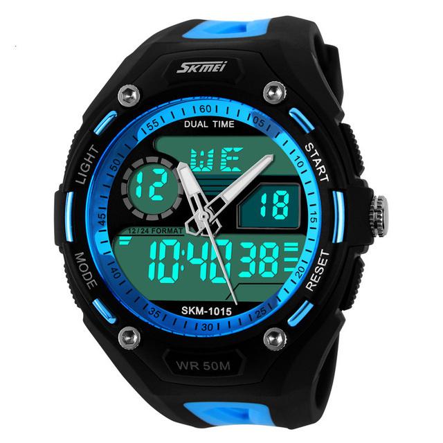 2016 Deportes de Los Hombres Relojes Deportivos Reloj 5ATM Impermeable Fecha/Semana Alam Cronómetro Pantalla Digital LED Natación Buzos Relojes