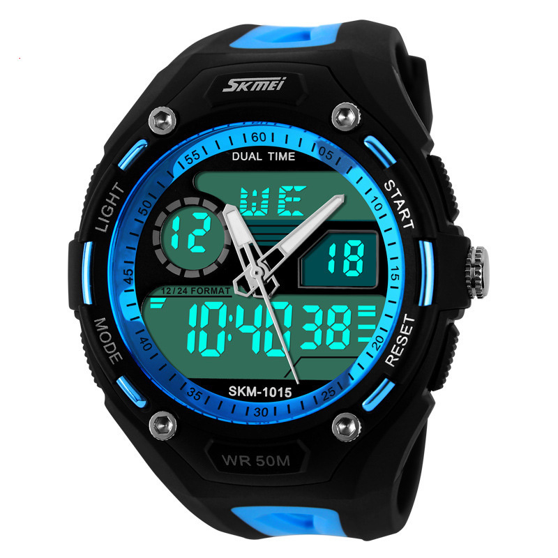 2016 Men Sports Watches Sport Watch 5ATM Waterproof Date Week Alam Stop Watch Display LED Digital