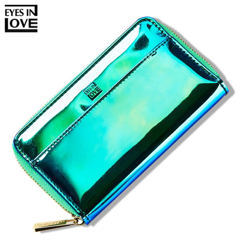 Brand Designer Fashion Shine Laser Wallet Women Luminous Colorful PU Leather Female Wallet Short Ladies Zipper Coin Card Purse цены