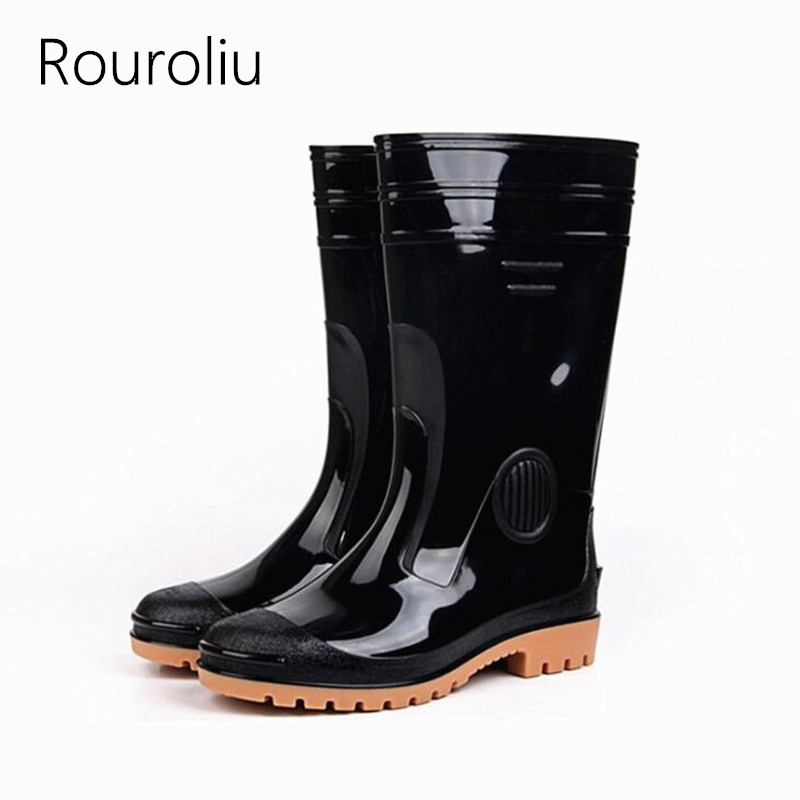Rouroliu Men Waterproof Pvc Rain Boots Non-slip Working Shoes Man Safety Autumn Winter Mid-calf Rainboots Footwear Rt364 Back To Search Resultshome