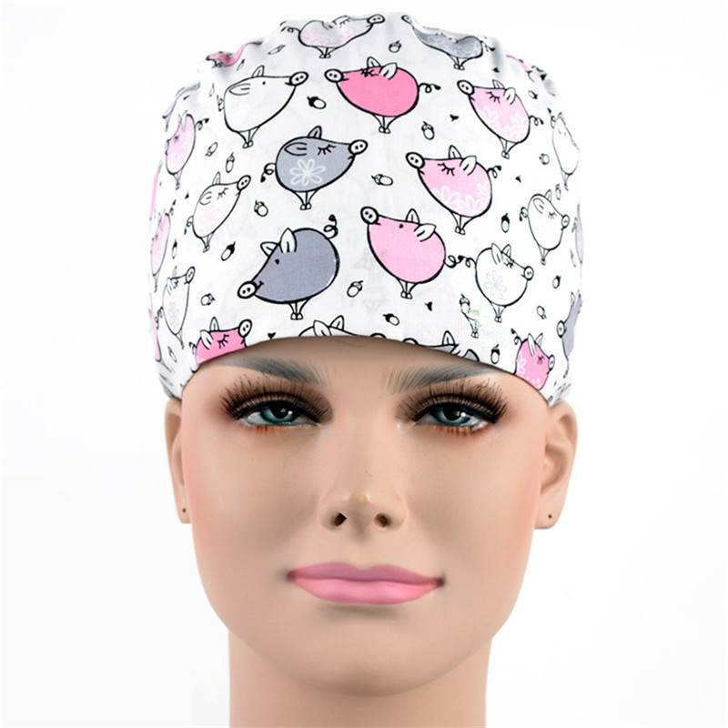 9eebb99349f7c 2018 New Surgical Caps for Women MEDICAL CAPS Work Hat Hospital Pet Shop in  White with Pink Cute Pigs Convertable Lab Caps