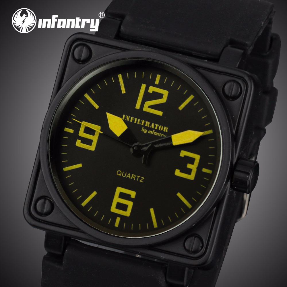 Prix pour INFANTRY Mens Quartz-montres Militaire Visage Carré Montres Analogique Homme Horloge Tactique Armée Noir Bande de Silicone Relogio Masculino