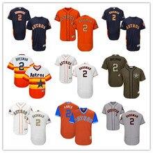 e936e903f MLB Men s Houston Astros 2 Alex Bregman 2018 Gold Program Orange Baseball  jersey