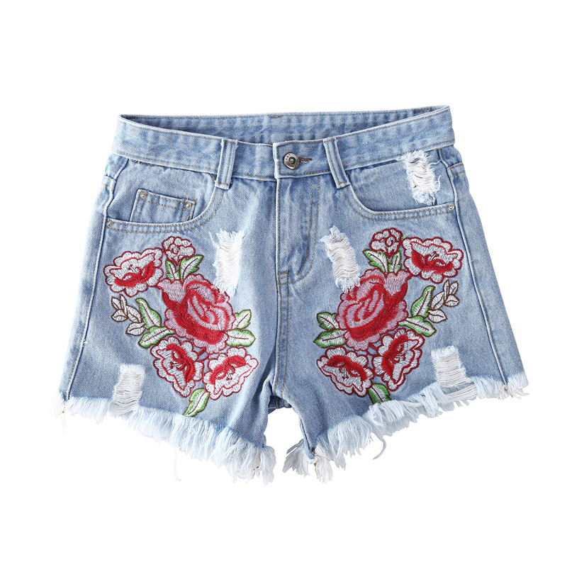 Women Jeans Girls Worn-out Shorts Embroidery Vintage Hot Sale Trousers Ropped Popular Personality All-purpose Summer Shorts