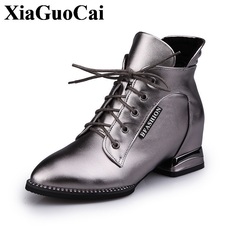 Fashion Shoes Women Boots Pointed Toe Cross Tied Thick Square Heel Low Ankle Boots Autumn Winter Leather Casual Shoes H394 35 блок питания для ноутбука buro bum 1129м120 11 переходников 120вт черный