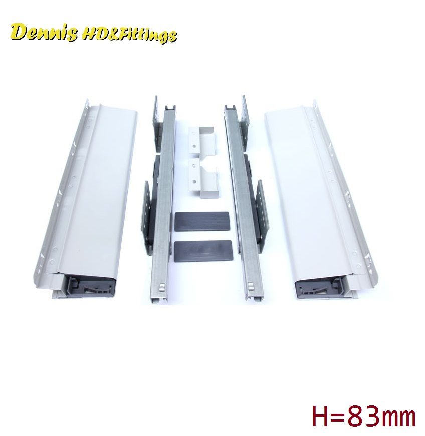 Premintehdw L=400mm Double Wall Soft Close Drawer Slide Runners Kitchen Bath Furniture Cabinet 2pcs lot double wall drawer front panel connector kitchen furniture cabinet page 6