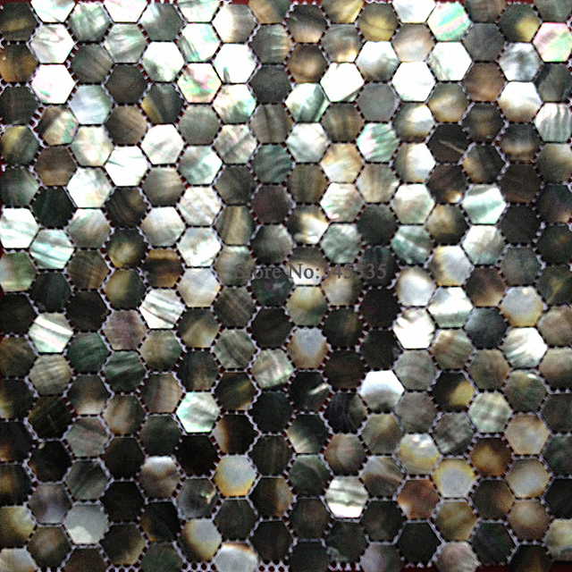 Black Lip Sea Shell Mosaic Hexagon Tile Mother Of Pearl