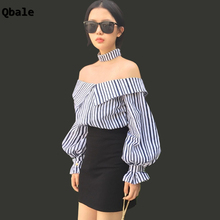 Qbale Striped Woman Tshirt Top 2017 Korean Vogue Women Long Sleeve Tee shirt Lantern Sleeve off the shoulder tops for women