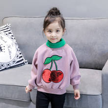 2018 Spring Baby Cherry Sports Sweater Pullovers Sport wear Children Sweatshirts Long Sleeve Outwear Free Shipping