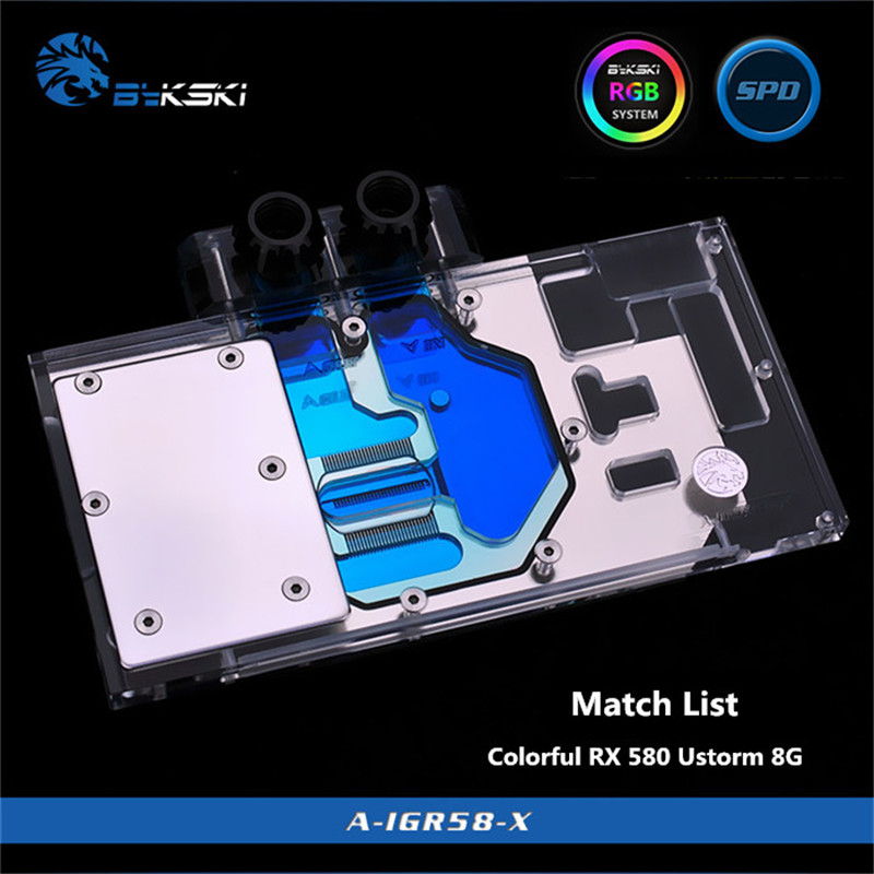 Bykski Couverture Complète GPU Bloc De L'eau Pour Coloré RX 580 Ustorm 8G carte graphique A-IGR58-X