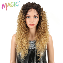 MAGIC Hair Lace Wigs Synthetic For Black Women 26 Inch Long Kinky Curly Blond Color Heat Resistant Fiber Daily Party