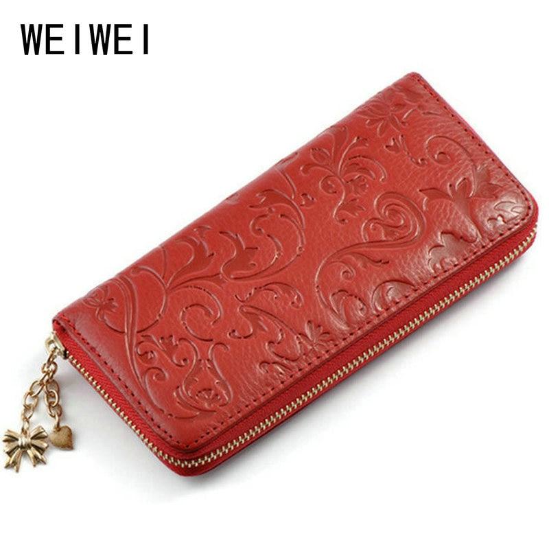 WEIWEI Brand Fashion Genuine Leather Wallet Women s Purse Clutch Bags Long  Embossing Women Wallet Money Clips Female Purse QB20 cc148b175
