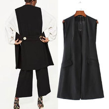 Sleeveless Blazer Vest  Women 2017 Spring Autumn Long Vest Coat Brief BLack Outwear Office Ladies Jacket Pocket For Female