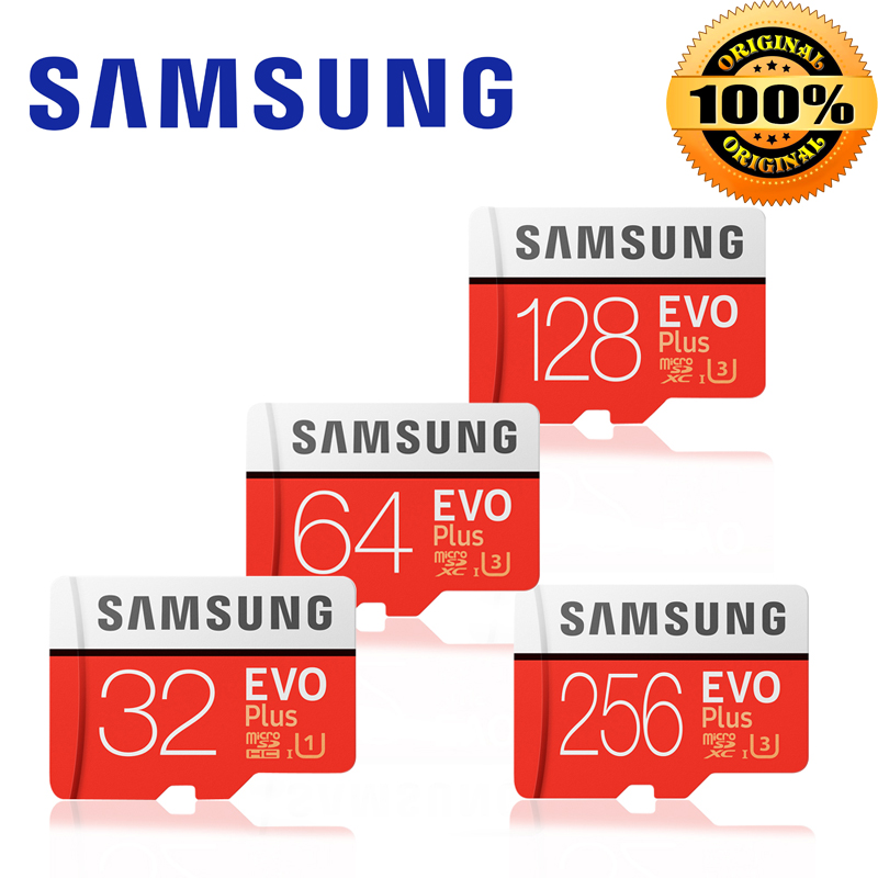New product Original SAMSUNG EVO+ Memory Cards 64GB EVO plus U3 128 GB 256 GB Class10 Micro SD Card 32GB microSD UHS-I TF Card