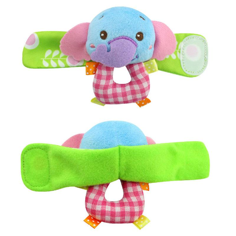 2017 New Product Animal Baby Infant Kids Boys Girls Hand Wrist Bells Foot Sock Rattles Soft Toys