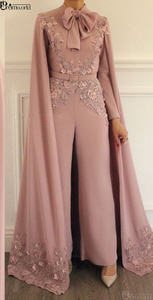 Image 4 - אלגנטי מוסלמי שמלת ערב 2020 סומק ורוד תחרה אפליקציות חרוזים ערב מכנסיים דובאי ערבית ארוך שרוולי פורמליות ערב שמלה