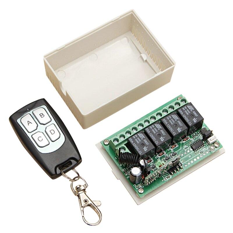 DC 12V 4 Channel RF 200M Wireless Remote Control Switch Transmitter + Receiver dc 12v 1 channel rf wireless remote control 3 pcs receiver