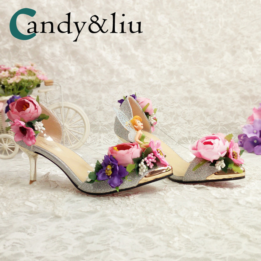 Pink Flower Wedding Shoes High Heel Silver Sequin Slip on Women Pumps for Party Banquet Bride