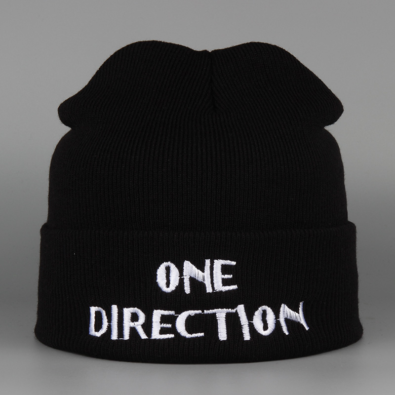 Brand 2016 Fashion Winter Hat Men Beanie Knitted Casual Caps Skullies Bone Letter ONE DIRECTION Unisex Winter Cap Tuque femme unisex 1d one direction letter hats gorros bonnets winter cap skullies beanie female hihop knitted hat toucas with pompom ball