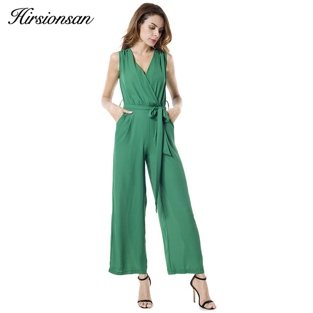 Hirsionsan Women Jumpsuit 2017 Summer Sleeveless V-neck Long Overalls Chiffon Elegant Rompers Bow Playsuit Combinaison Femme