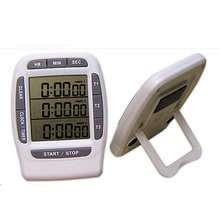 Three channel kitchen timer, large LCD screen kitchen timer button electronic kitchen timer, free postage