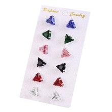 цена на 6 Pair/set Fashion Women Earrings Triangle Zircon Stud Earrings Set For Women Accessories Geometric Earrings Jewelry Gift