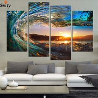 Framed ready to hang 4 Panel Modern Seascape Painting Canvas Art HDSea wave Landscape Wall Picture For Bed Room F213
