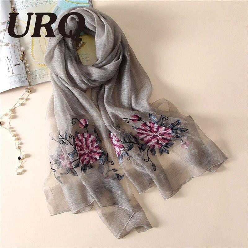 50% Soie Naturelle Écharpe 50% laine Mélange Écharpe pour femmes printemps  grand foulard Brodé Chinois style lumineux doux conception 5064 dans  Foulards de ... 57b97f524d7