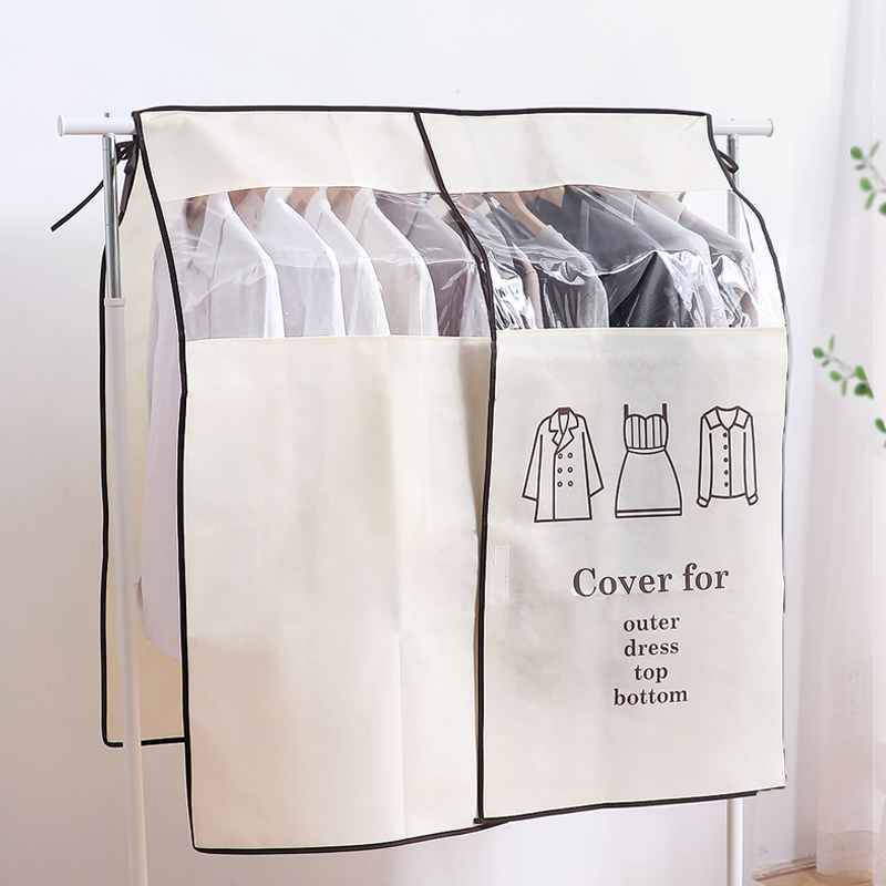 1pcs Wardrobe Clothing Dust Cover Non-woven Clothes Hanging Garment Bag For Clothes Storage Hanging Suit Dust Jacket Cover