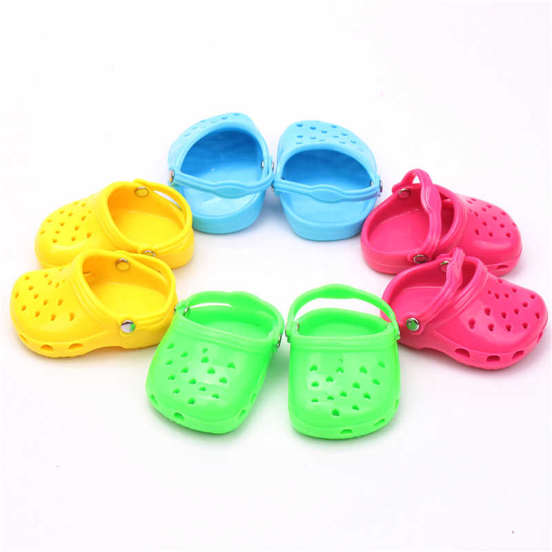 1 Pair 7cm Doll Cave Cave sandals Shoes Fits 18 inch Doll 43CM Baby new Born Shoes for American Doll Accessories gift