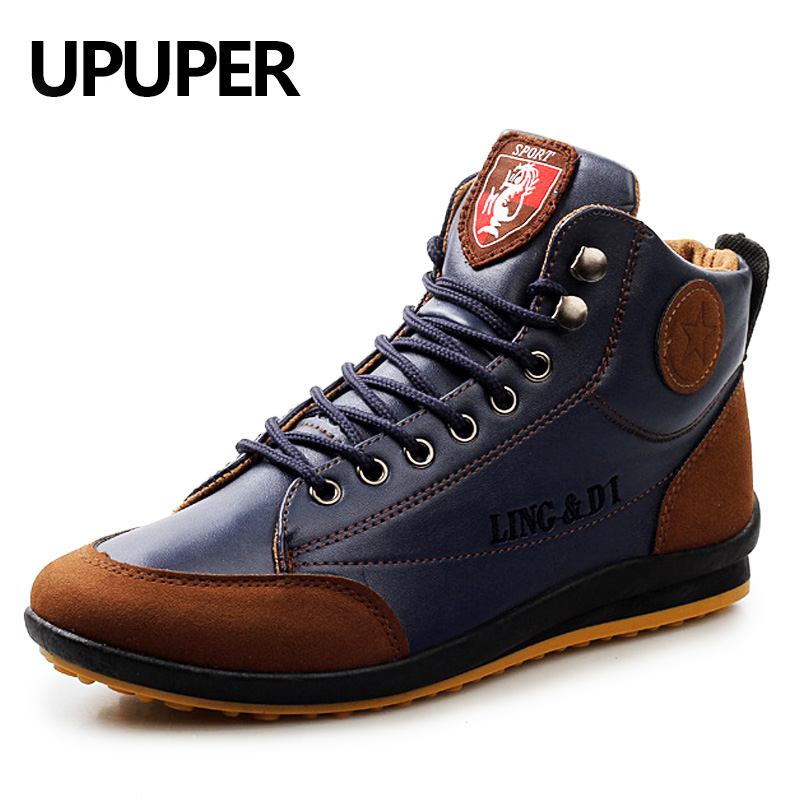 Купить UPUPER модные кожаные ботинки для мужчин новый 2018 Осень Зима  Повседневное теплый хлопок ботильоны кружево до Мужская обувь прямая  доставк Продажа ... 3dbdb99d16e