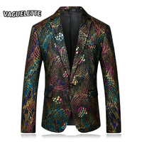 Golden Men Sequin Blazer Peacock Feathers Wedding Stage Costumes For Singers Scales Pattern Performance Blazer Homme M 4XL