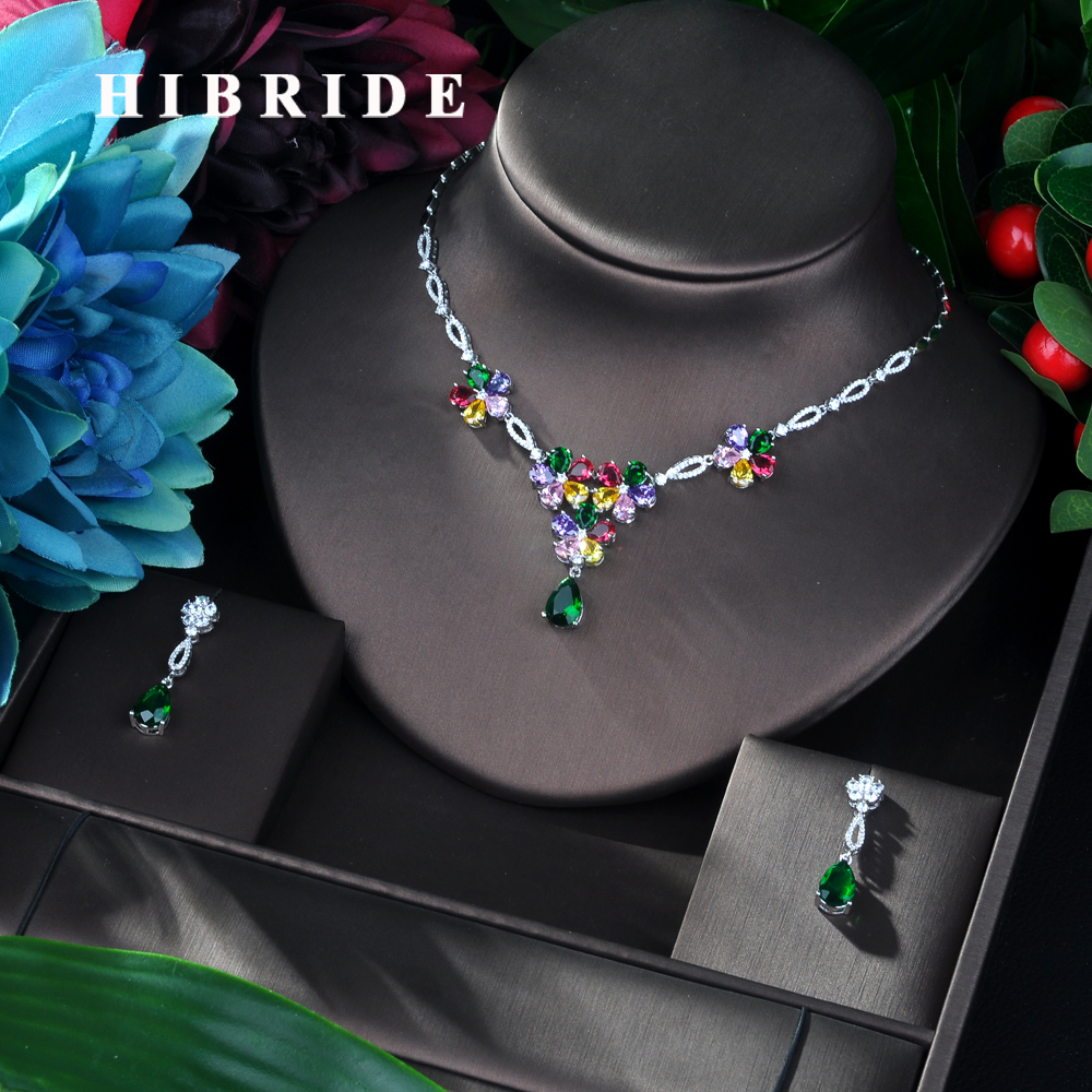 HIBRIDE Exclusive AAA Colorful CZ Charm Female Pendant Necklace Earrings 2PCS Set Flower Shape Zirconia Jewelry Sets Women N-16 HIBRIDE Exclusive AAA Colorful CZ Charm Female Pendant Necklace Earrings 2PCS Set Flower Shape Zirconia Jewelry Sets Women N-16