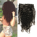 6a clipe peruano em extensões do cabelo humano rosa queen produtos para o cabelo Clipe Crespo crespo Em Extensões Do Cabelo Para As Mulheres Negras 7 pcs 120g