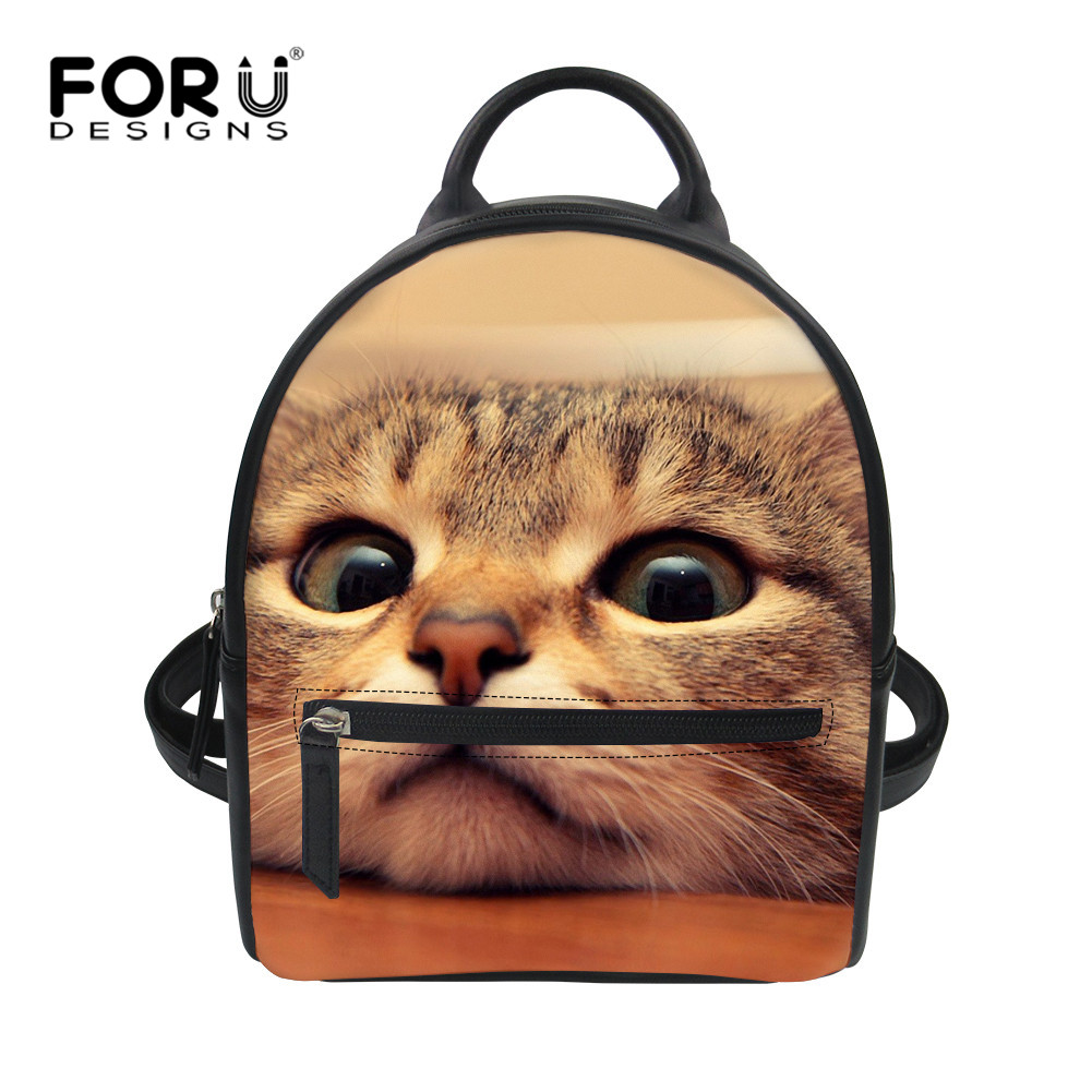 FORUDESIGNS Cute Cats Pets Print PU Backpack for Women Youth Naturals Animals Design Back Pack Children School Book Bags Student