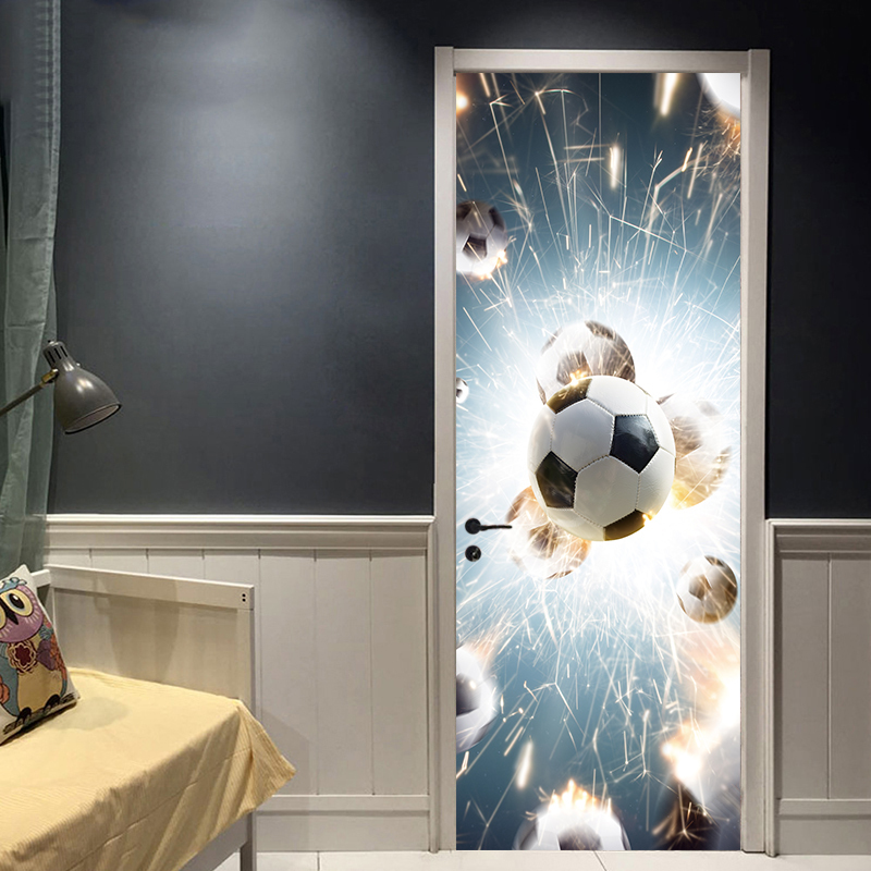 Hot Sales New Door Sticker Football Broken Glass PVC Poster Decal Soccer Sports Decoration Mural Boys Kids Room Home Decor