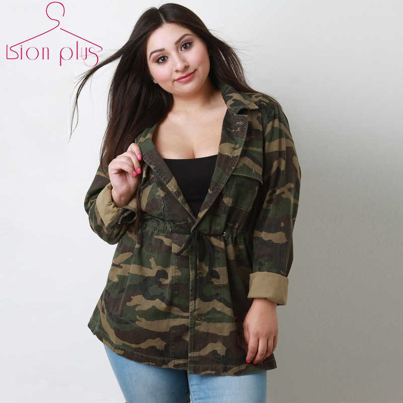 1e6acc0d Detail Feedback Questions about 7xl 6xl Office Camouflage Jacket Women  Oversized 2018 Spring OL Style Adjustable Slim Waist Single Breasted Jackets  Plus ...
