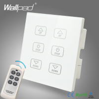 110V 250V LED Dimmer Switch Wallpad White Crystal Glass Panel 6 Buttons Wireless Remote Control 2