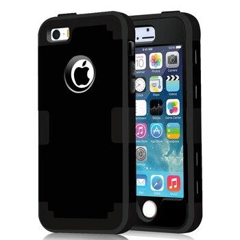 9eafeb631cc Funda para iPhone 5S funda protectora a prueba de golpes funda híbrida de  goma dura funda de piel de impacto para iPhone SEw/película de pantalla