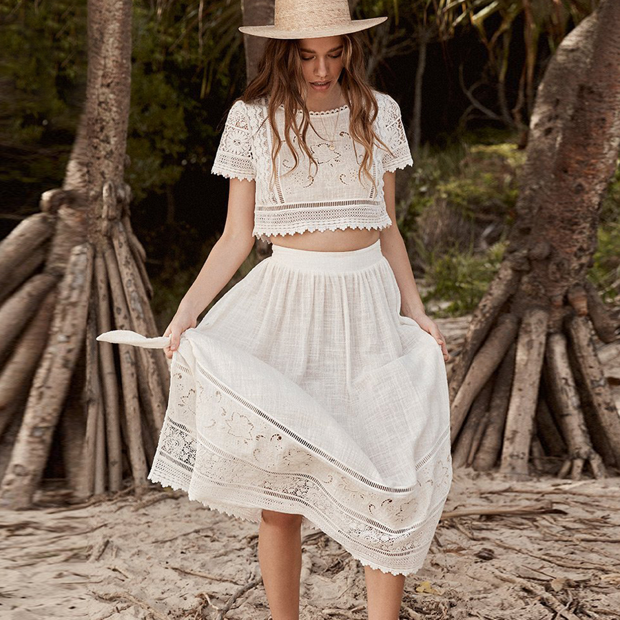 TEELYNN boho dress white floral Embroidery summer dresses abigail lace tie Split side 2pcs women Dresses